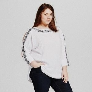 • AVA & VIV • white open sleeve embroidered top